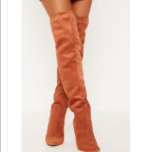 PrettyLittleThing Shoes - Rust colored suede thigh high boots sz 8